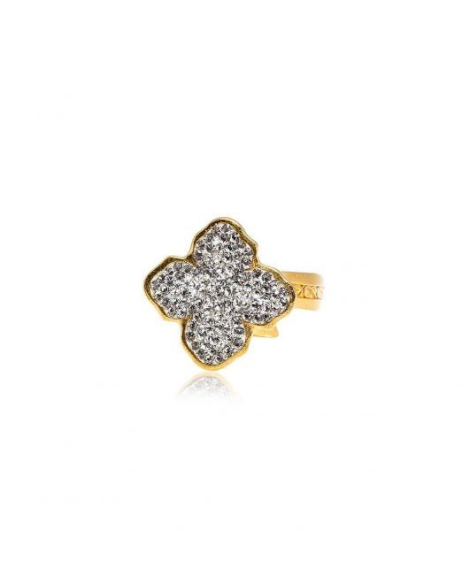 flower shaped gold and crystal ring