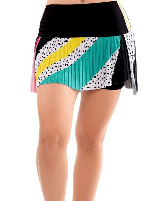 hi retro color block pleated skirt