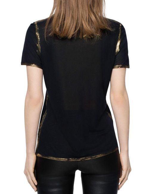 zadig-and-voltaire-Black-Tino-Gold-Foil-Trimmed-Tee 2