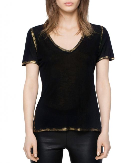 zadig-and-voltaire-Black-Tino-Gold-Foil-Trimmed-Tee