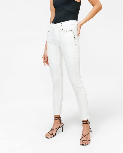 7 For All Mankind White Skinny Jeans with Studs