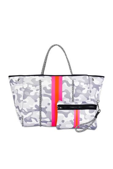 Haute Shore Greyson Rise Bag White Camo Pink Orange Stripe
