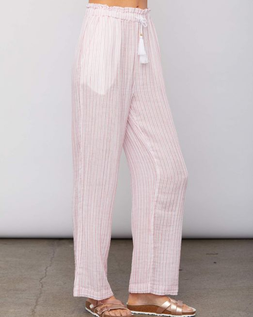 Sundays Hudson Pant Rasberry Stripe side
