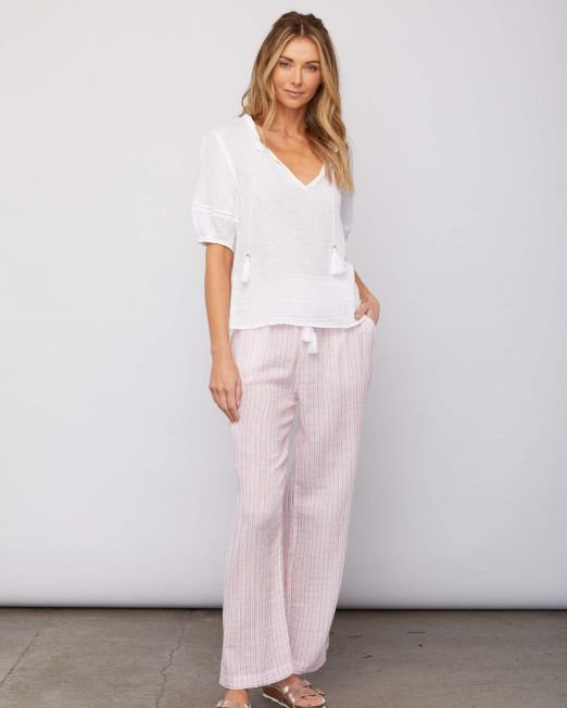 Sundays Hudson Pant Rasberry Stripe