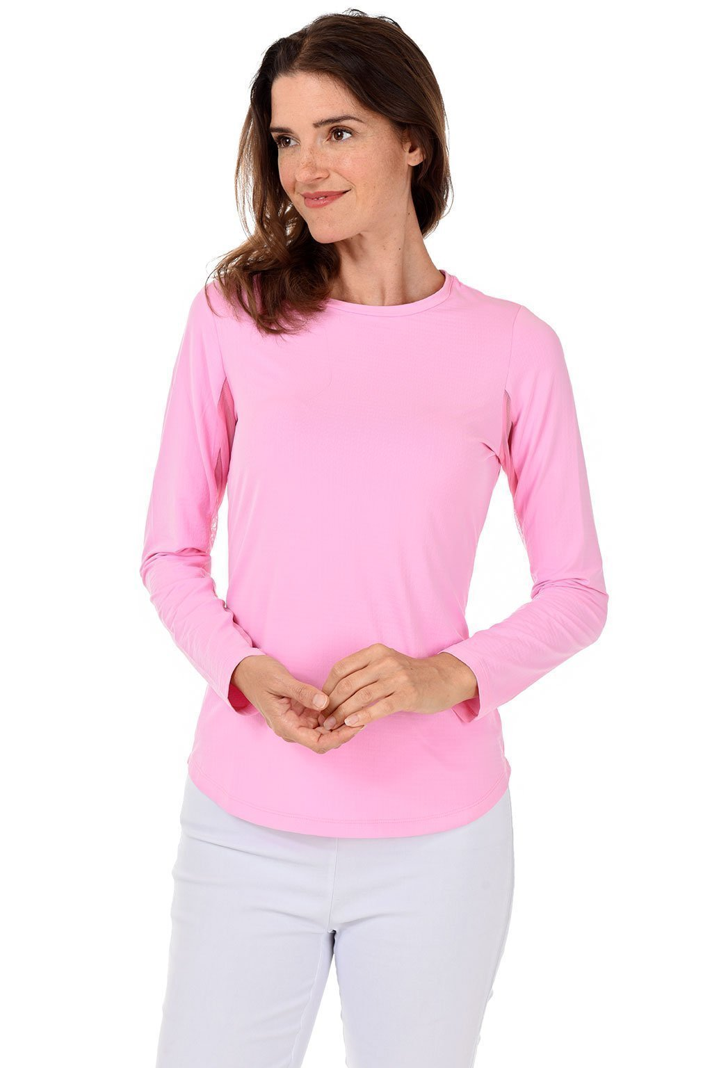 IBKUL Candy Pink Long Sleeve Crew