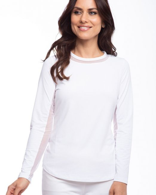IBKUL Long Sleeve Crew Neck with Mesh White