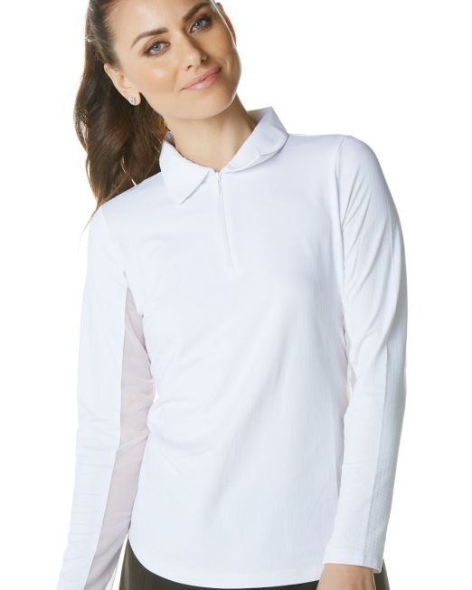 IBKUL White Long Sleeve Polo