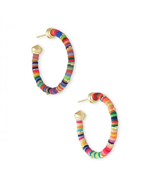 Kendra Scott Reece Small Hoops Neon Mix and Gold