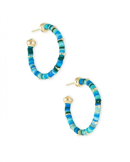 Kendra Scott Reece Small Hoops Turquoise and Gold