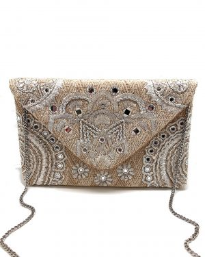 Natural Woven Embellished Clutch