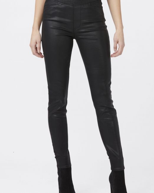 Paige Hoxton Ultra Skinny Pull On - Black Fog Luxe Coating